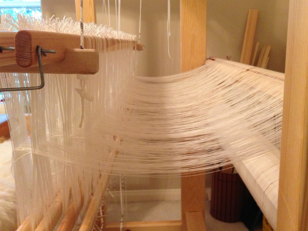 Loom threaded for Swedish lace curtains