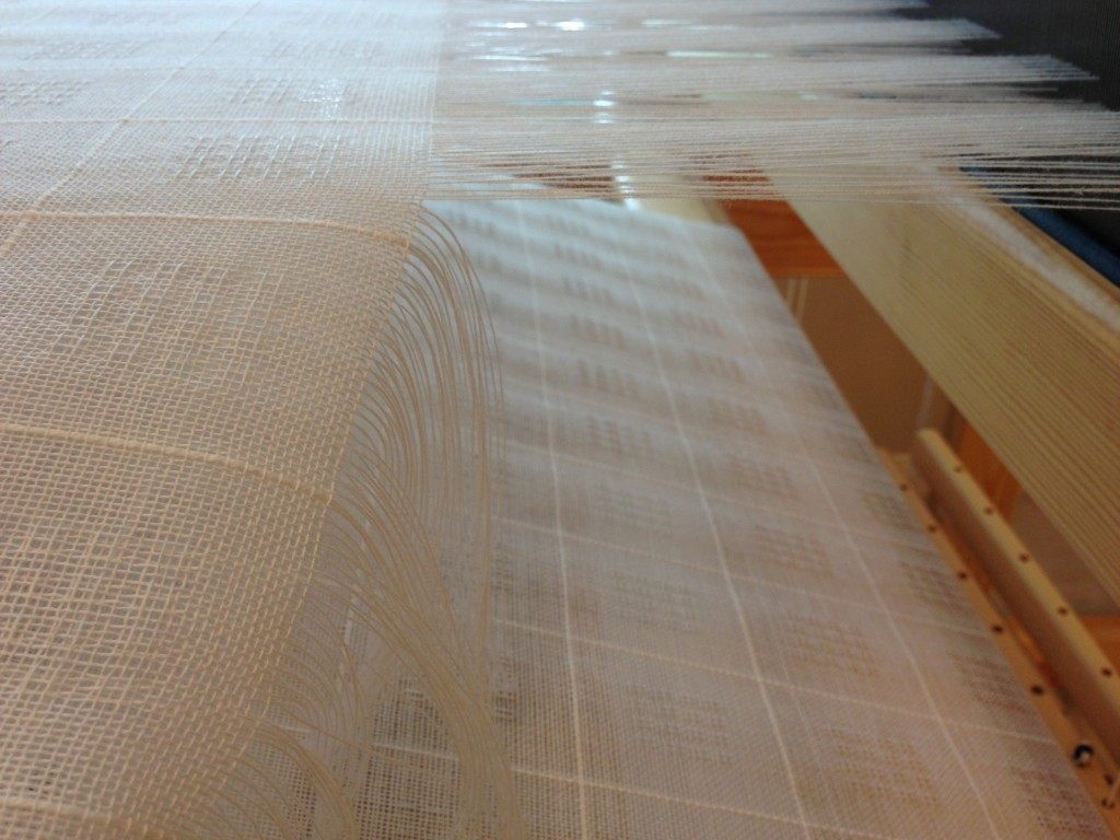Cutting off Swedish lace from the loom.