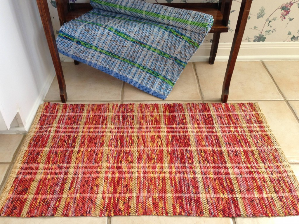 Lime Green and Blue Stripe & Red Flame rag rugs