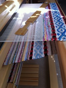 Rosepath Rag Rug on the Loom