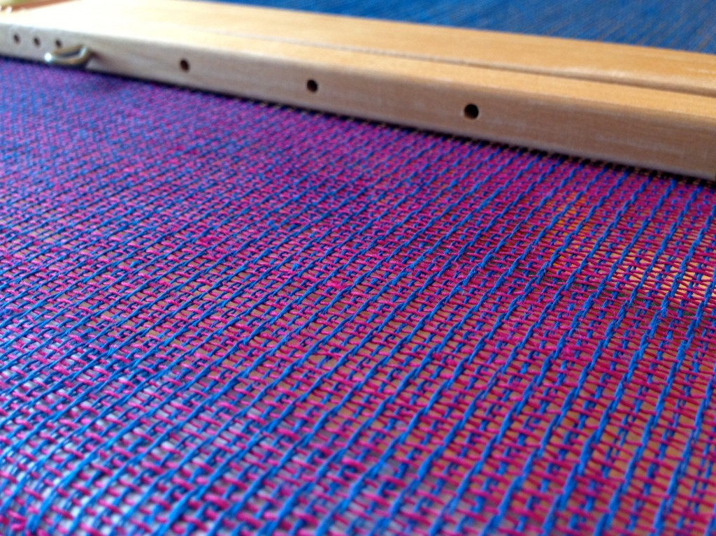 Linen fabric on the loom.