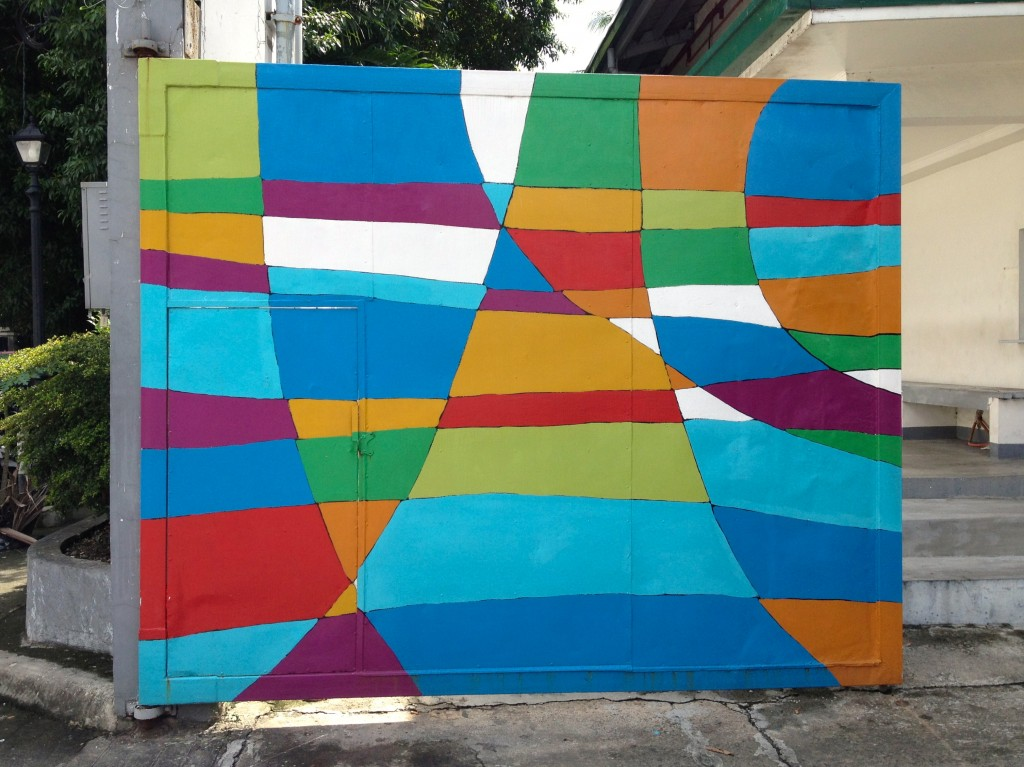 Painted metal gate in Makati, Philippines - would be great tapestry design!