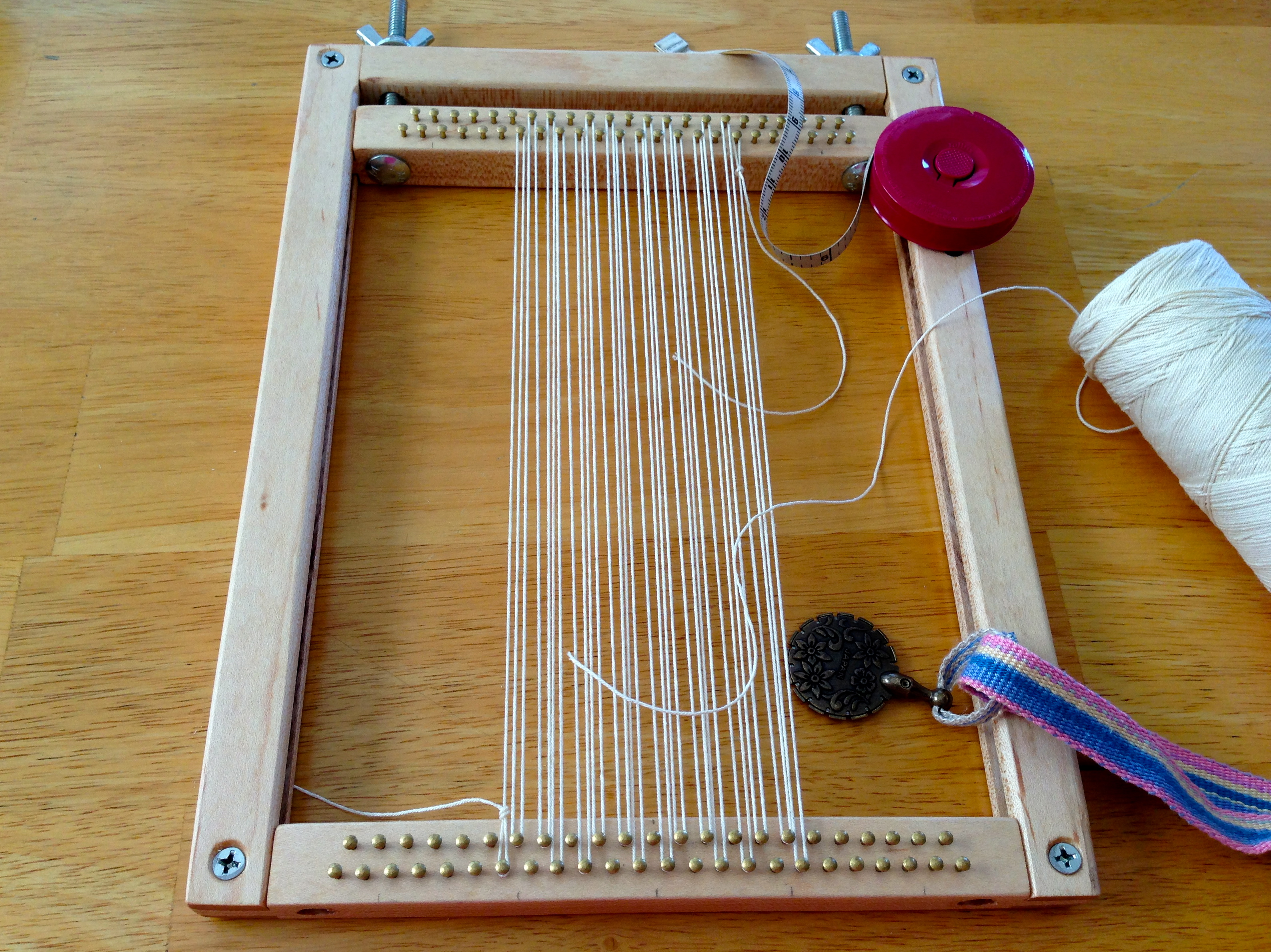 Good Hand Built Miniature Tapestry Loom, Size Of An IPad, For Travel.