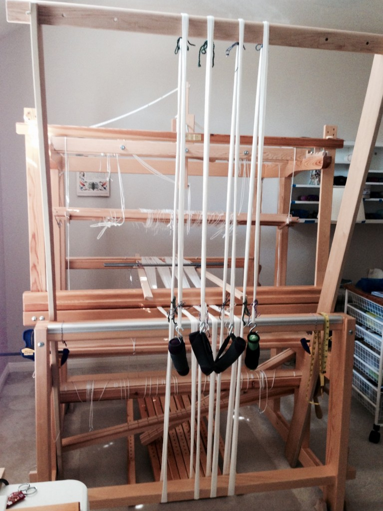 Warping trapeze set up for beaming the warp.