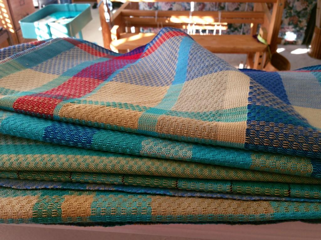 Towels just off the loom, not yet washed. Karen Isenhower