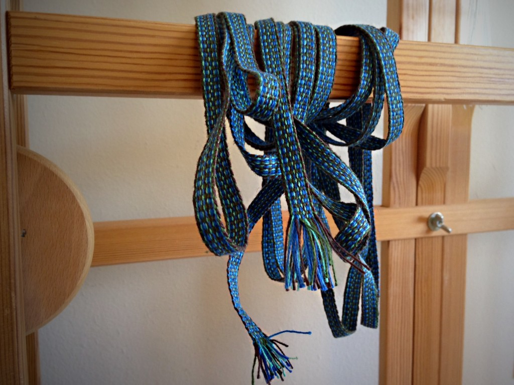 Cottolin ribbon woven on Glimakra band loom. Karen Isenhower