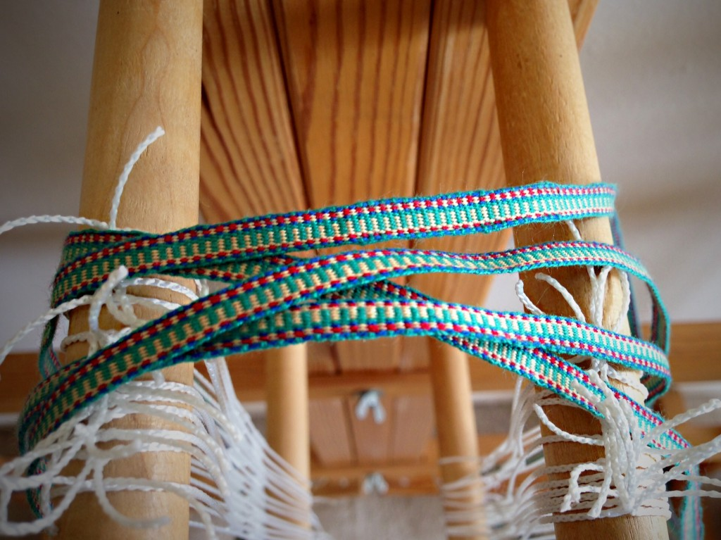 Glimakra band loom, weaving hanging tabs to match handwoven towels. Karen Isenhower