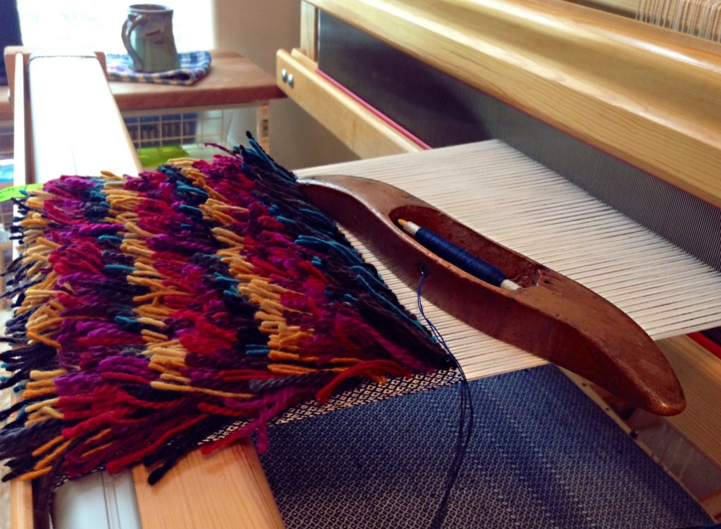 Layered rya knots on the Glimakra Standard loom.