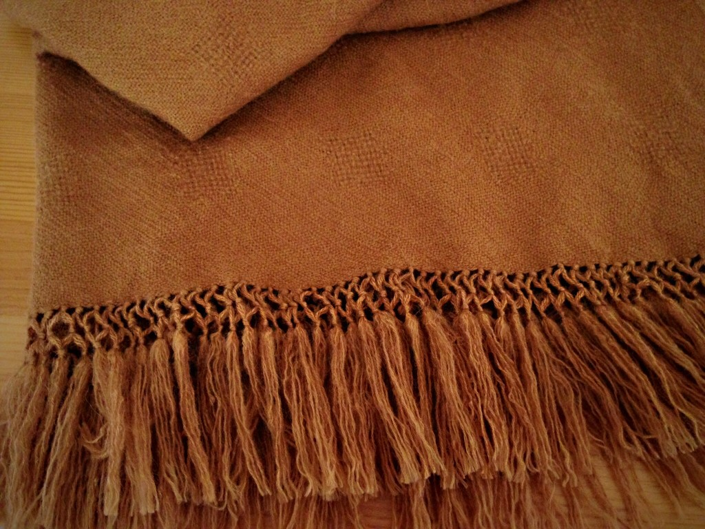 Alpaca Tencel handwoven throw with lattice fringe