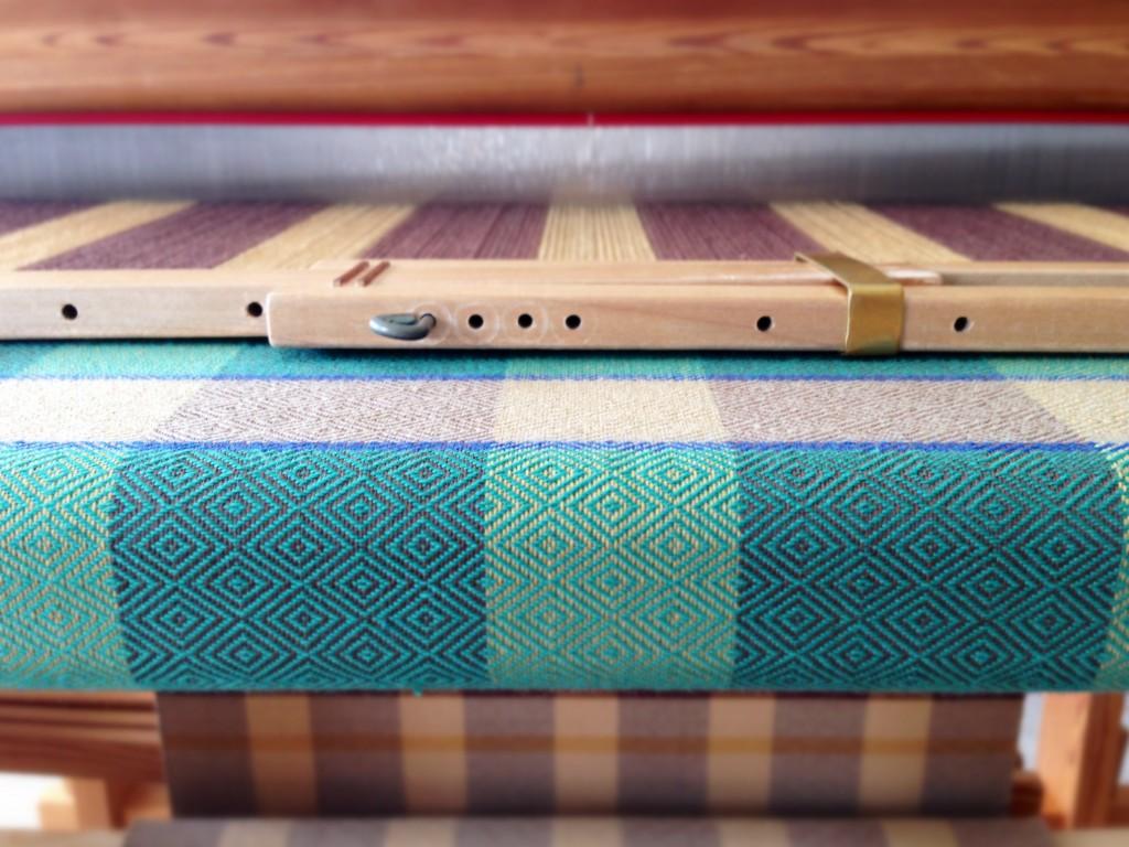 Goose-eye twill towels on the loom. Karen Isenhower