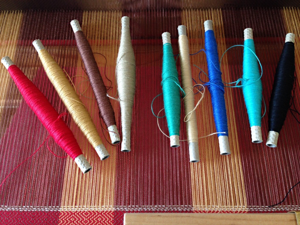 Nine quills of 16/2 cotton. Colorful towel up next.