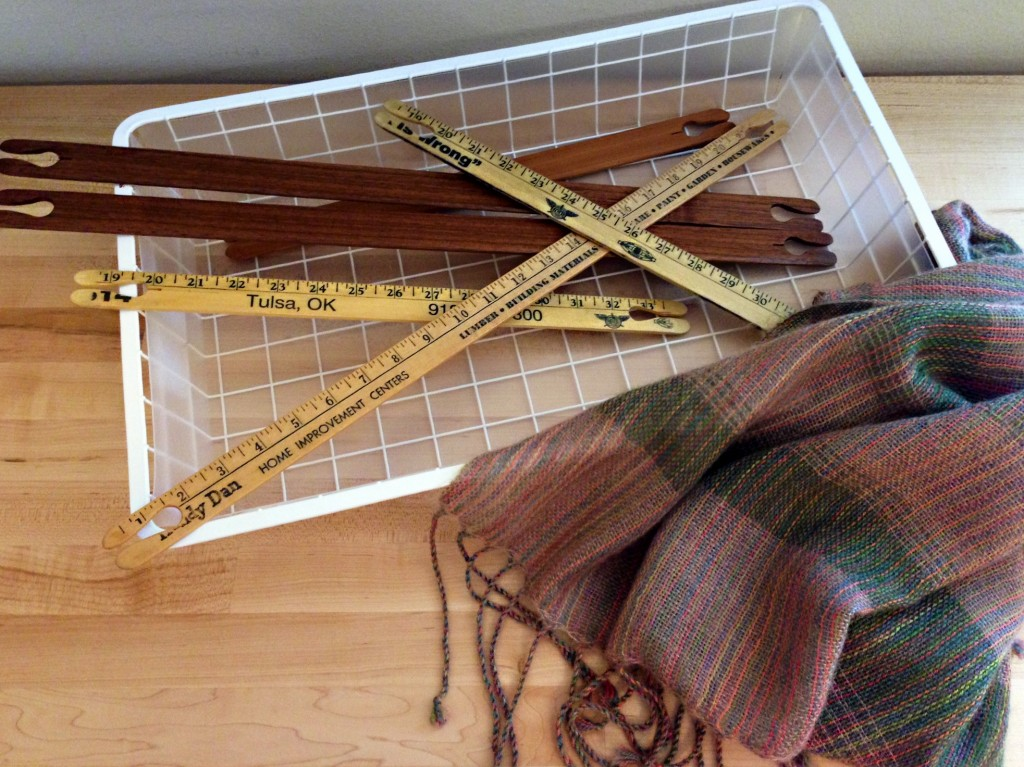 Hand-crafted walnut stick shuttles for rigid heddle loom. Mohair/silk/alpaca shawl.