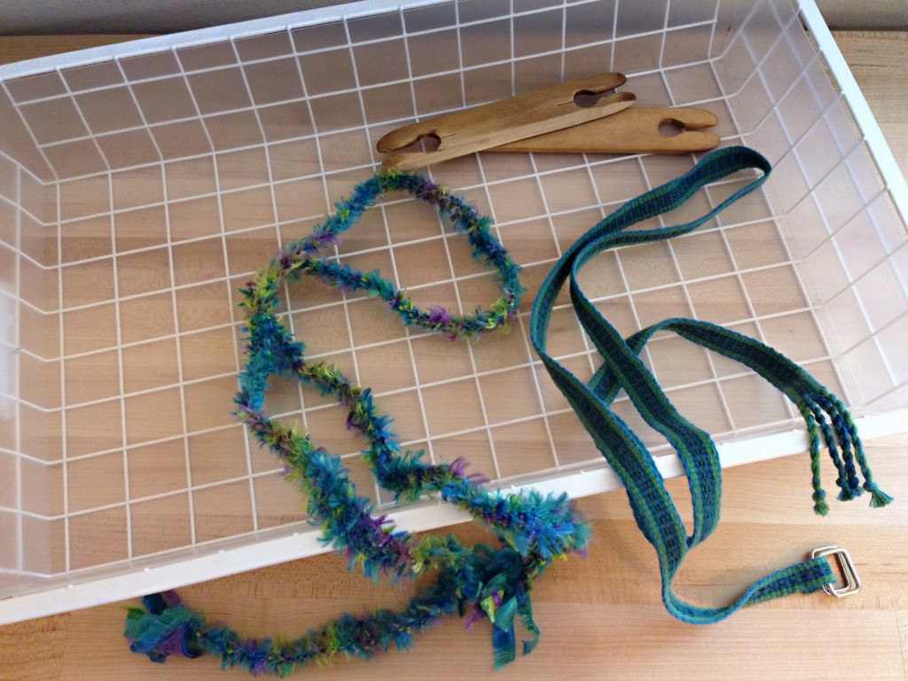 Novelty yarn woven on inkle loom.