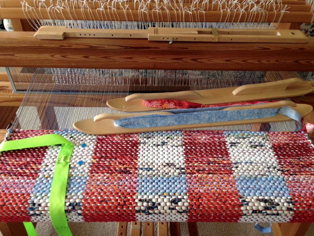 Autumn Clouds rag rug on the loom. Karen Isenhower