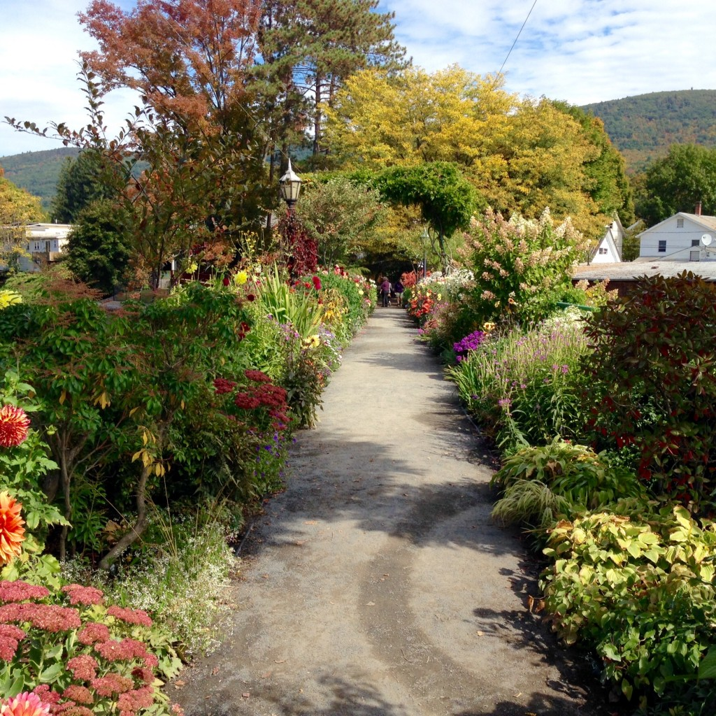 Shelburne Falls Bridge of Flowers, next to Vavstuga Weaving School