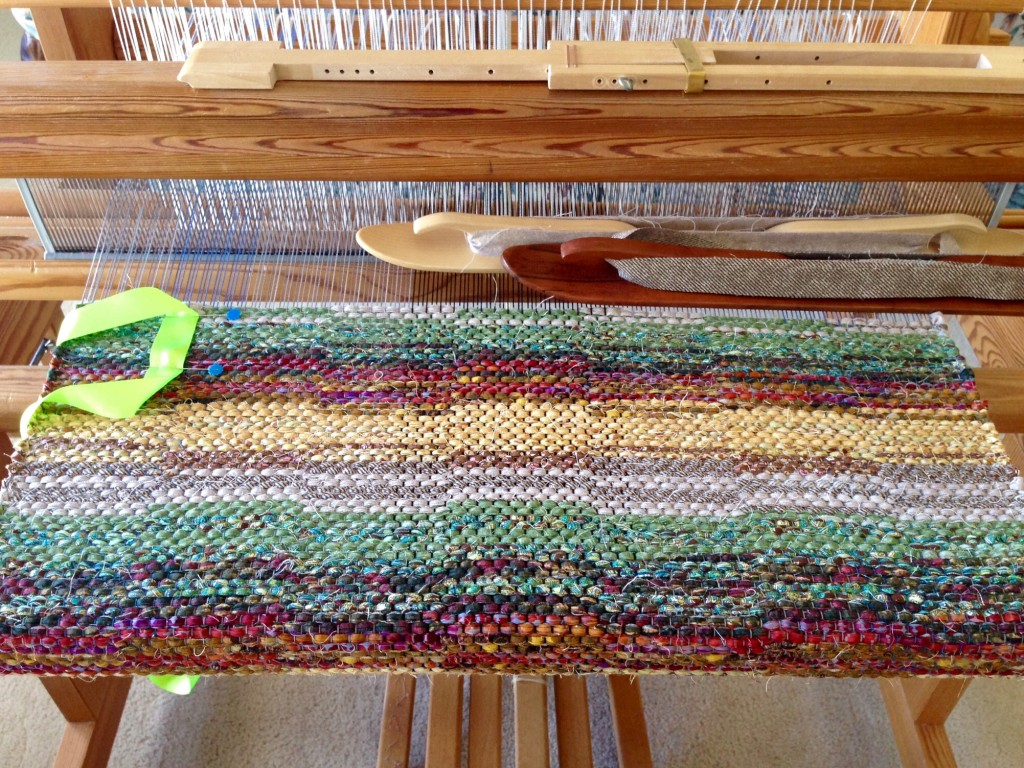 Little square rug on the loom. Karen Isenhower