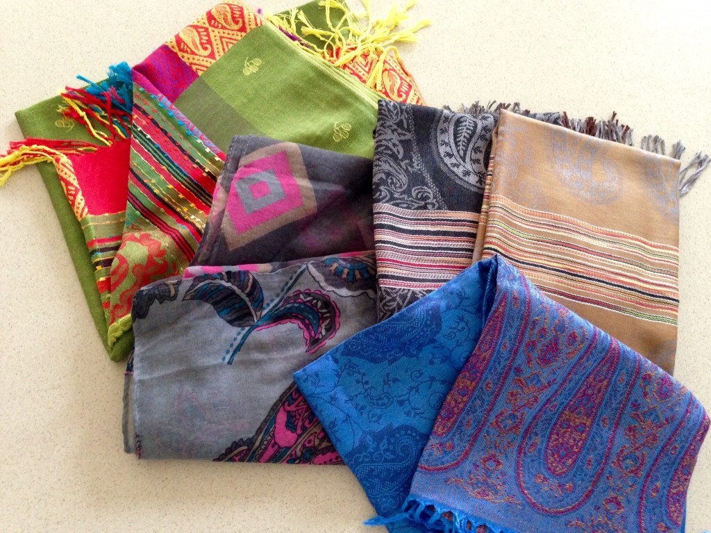 Variety of scarves and wraps from markets in The Philippines.