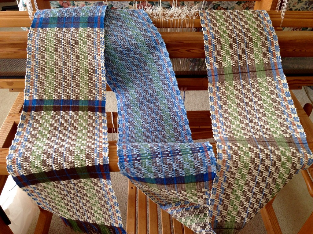 M's and O's pot holders and table runner cut from the loom.