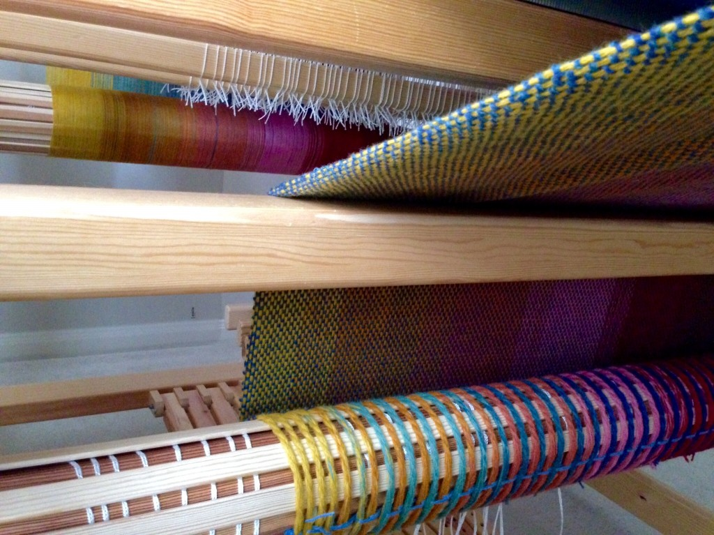Pics show double weave blanket progress on the loom.