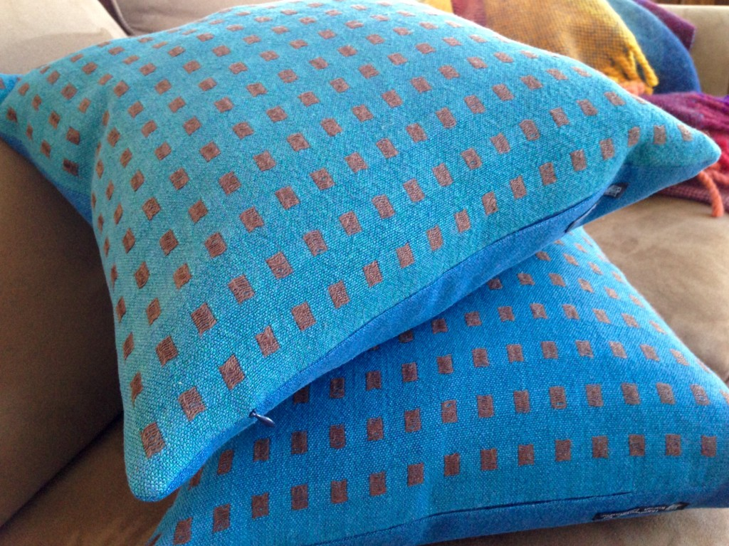 Handwoven linen dice weave pillows.
