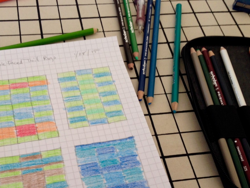 Graph paper and colored pencils for rag rug design ideas.