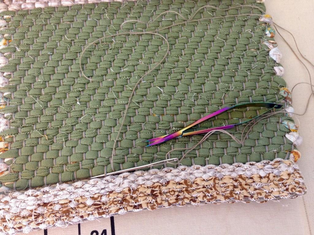 Tips for hand hemming rag rugs.