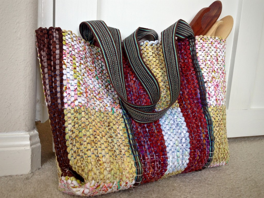 Rag rug bag with woven handles. Karen Isenhower