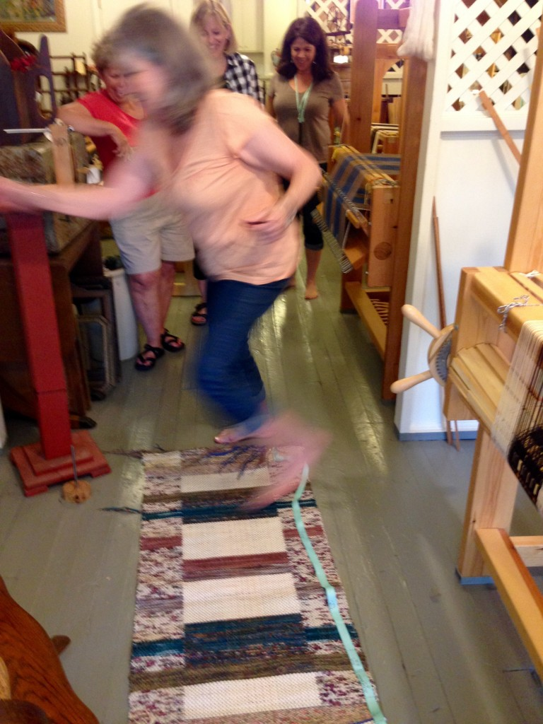 Happy dance on new double binding rug!