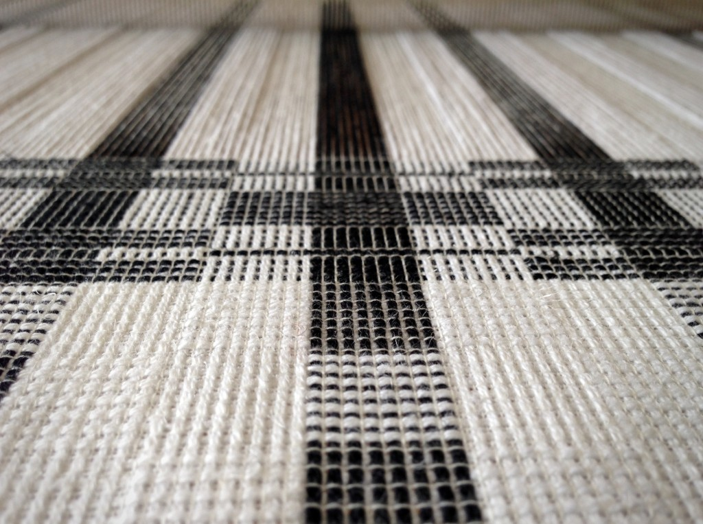 Black and white towels on the loom. Karen Isenhower