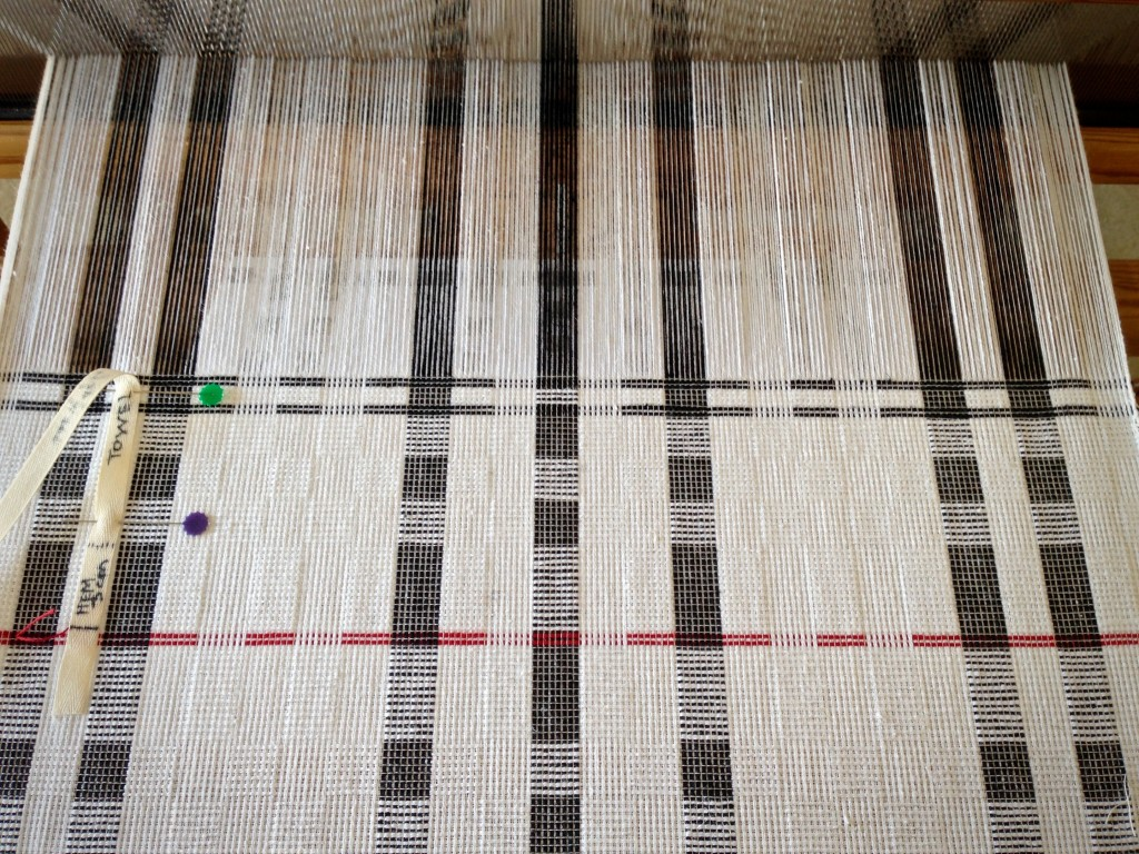 Cottolin towels (thick & thin) on the loom.
