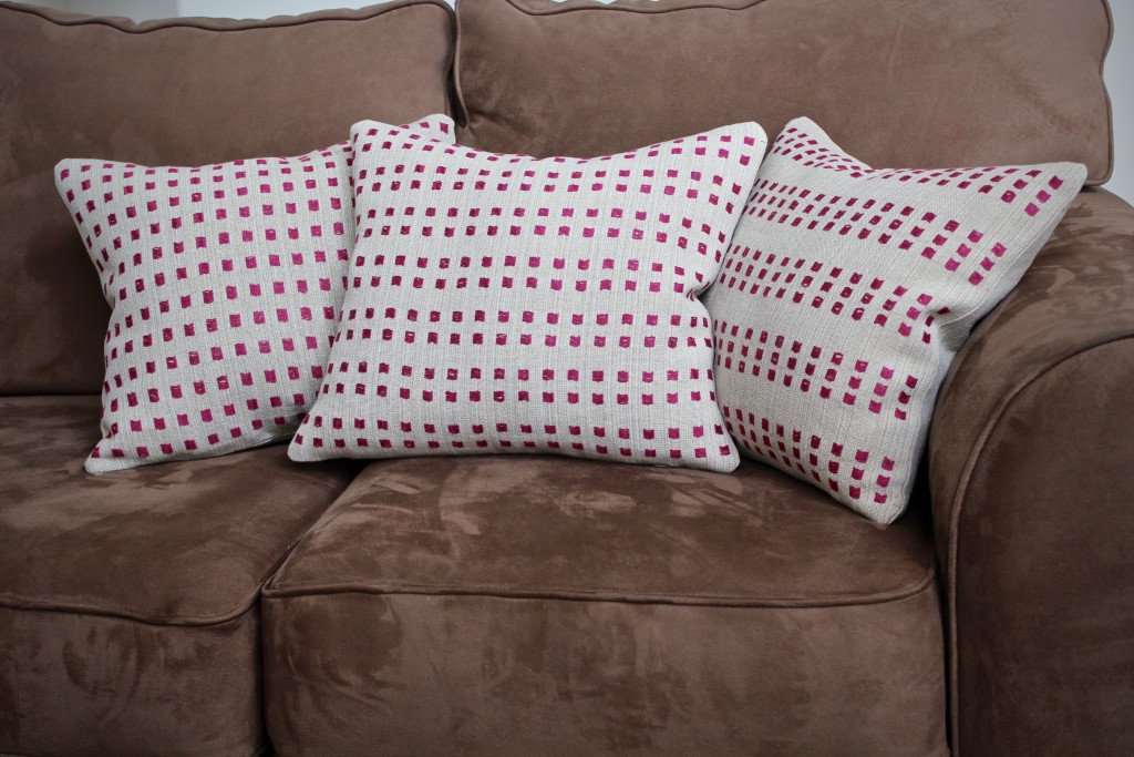 Linen dice weave pillows. Karen Isenhower