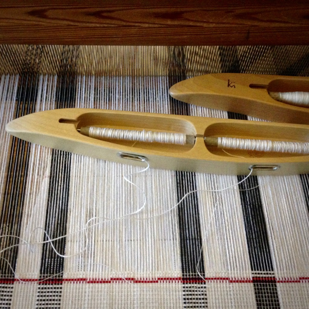 Thick and thin cottolin towels on this warp. One towel to go!