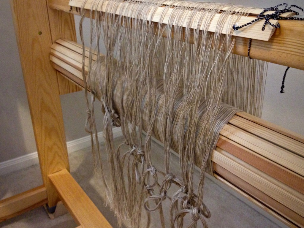 Linen, ready to be threaded in the heddles.