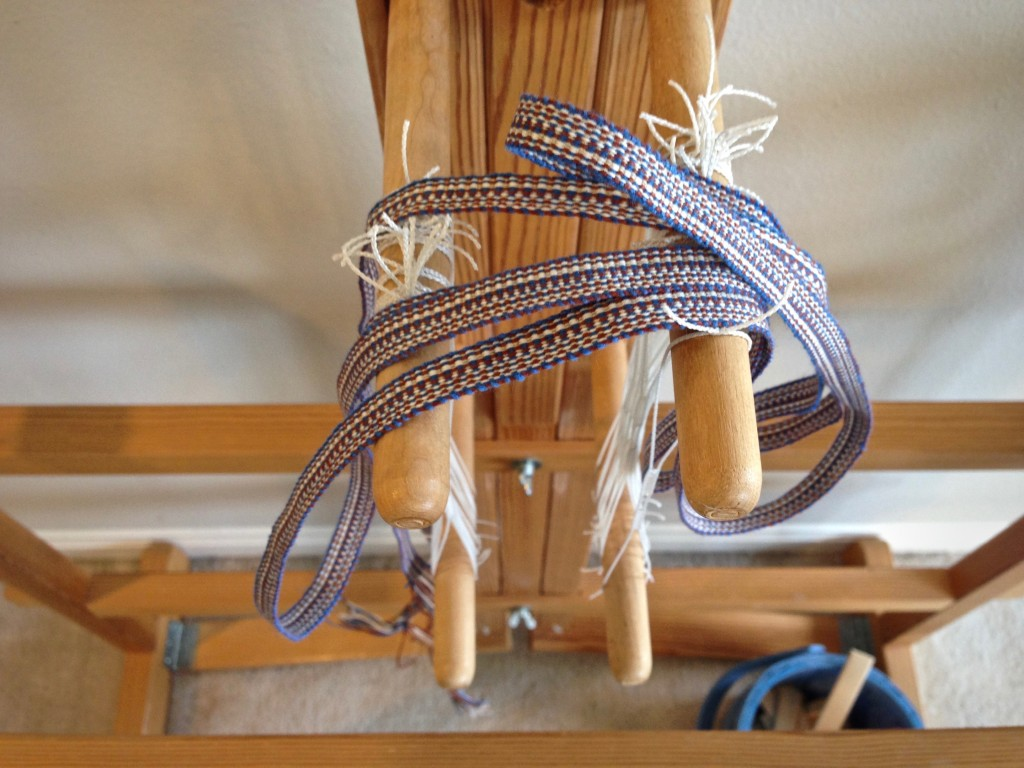 Glimakra band loom with completed band.