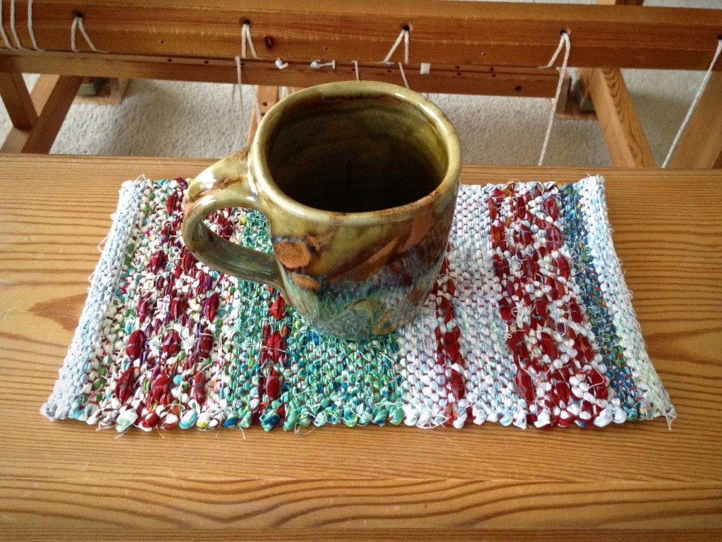 Mini rosepath rag rug with favorite coffee mug. Karen Isenhower
