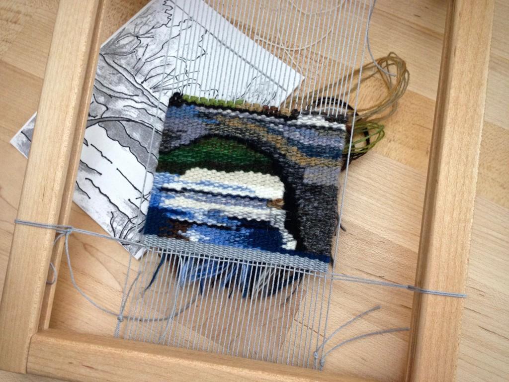"Small tapestry in progress, ""Bridge."" Karen Isenhower"