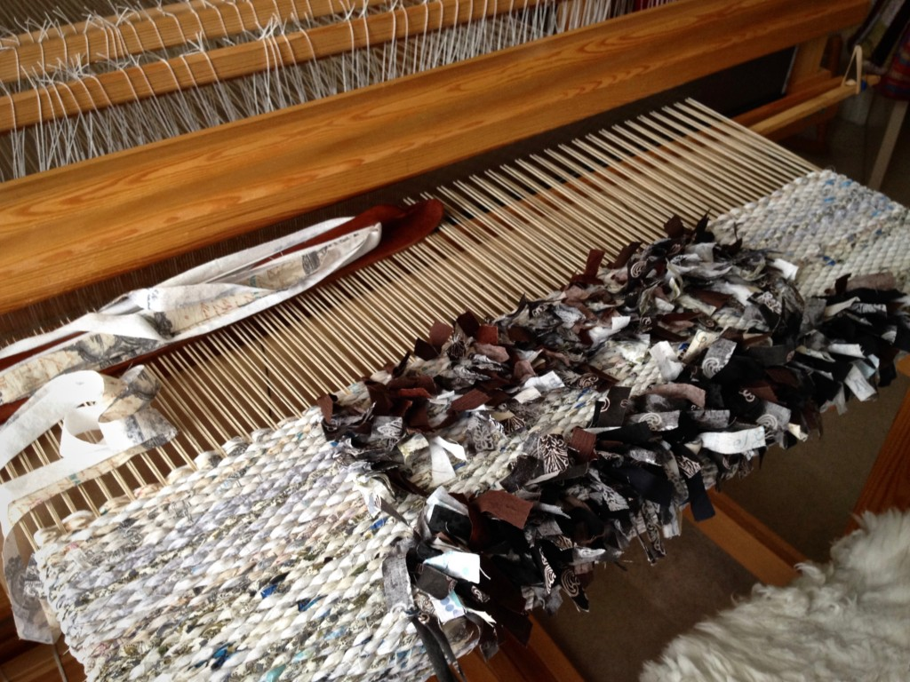 Rya rag rug on the loom. Karen Isenhower