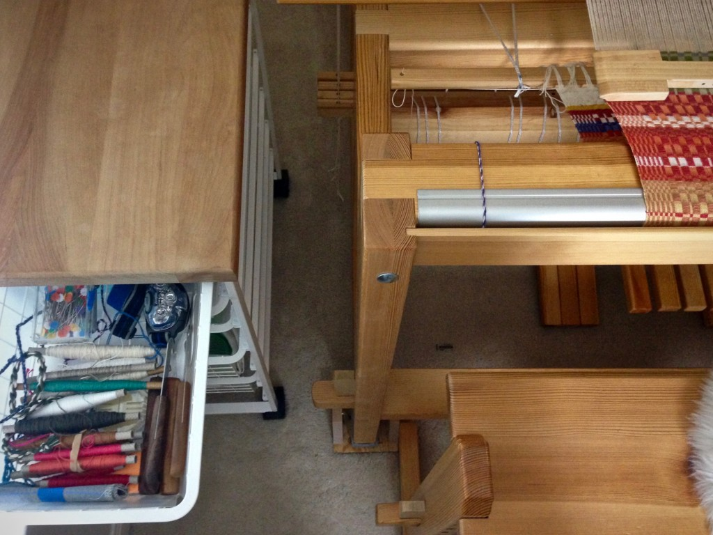 Elfa drawer system with casters for loom-side assistant.