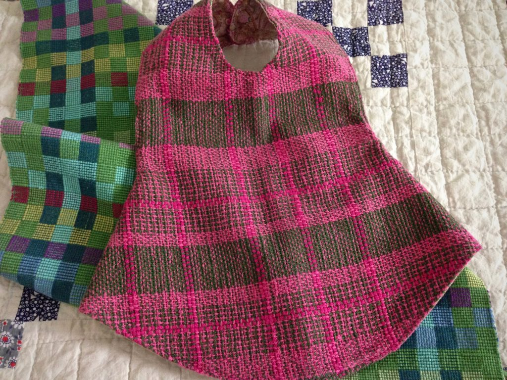 Baby towel and baby pinafore. Handwoven.