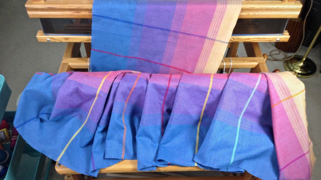 Woven baby wrap, just off the loom. Karen Isenhower