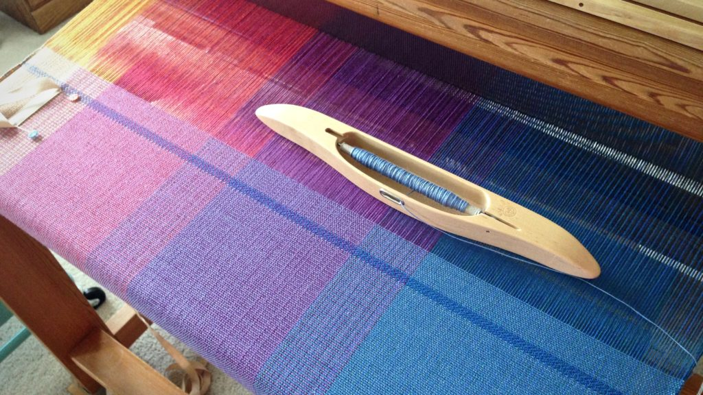 Woven baby wrap on the loom. Karen Isenhower