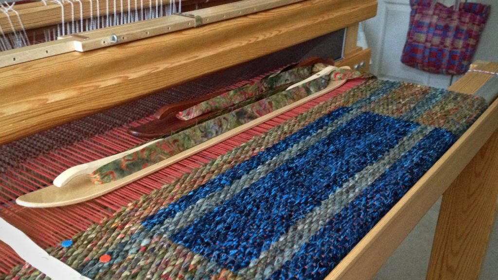 Double binding rag rug. Karen Isenhower
