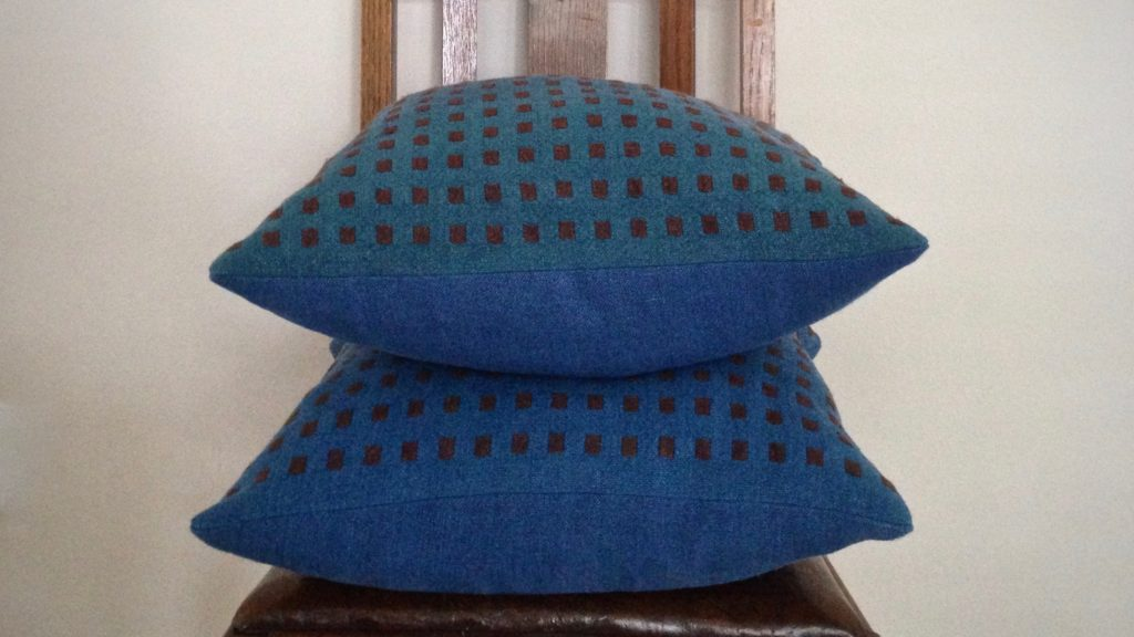 All-linen handwoven dice weave cushions.