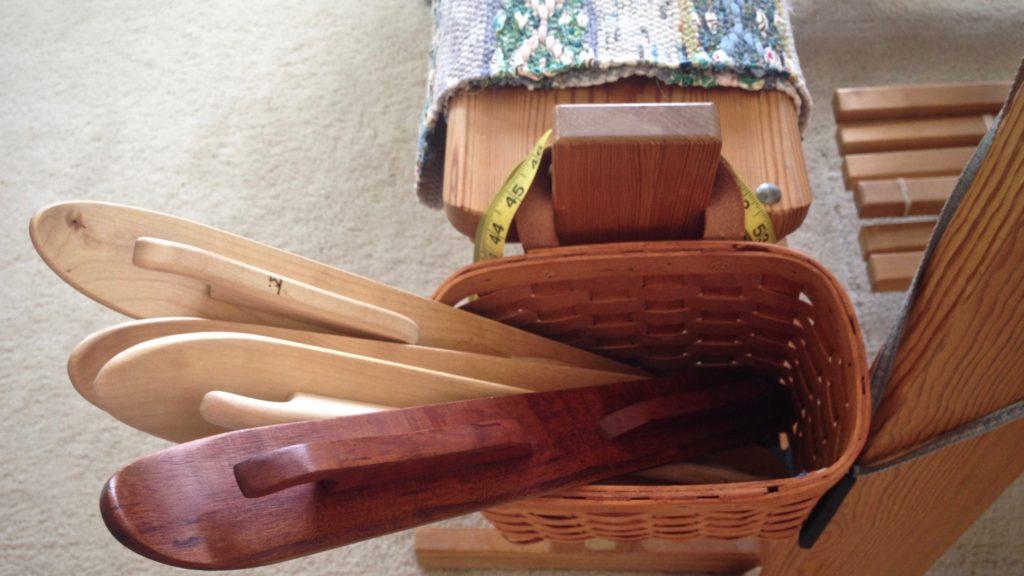 Basket of ski shuttles ready for the next rag rug!