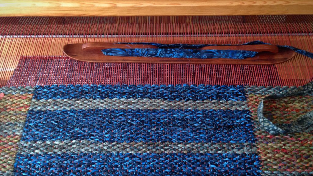 Double binding rag rug on Glimakra Standard loom.