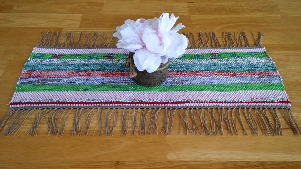 First rag rug by a seven-year-old weaver. Glimakra Ideal floor loom.