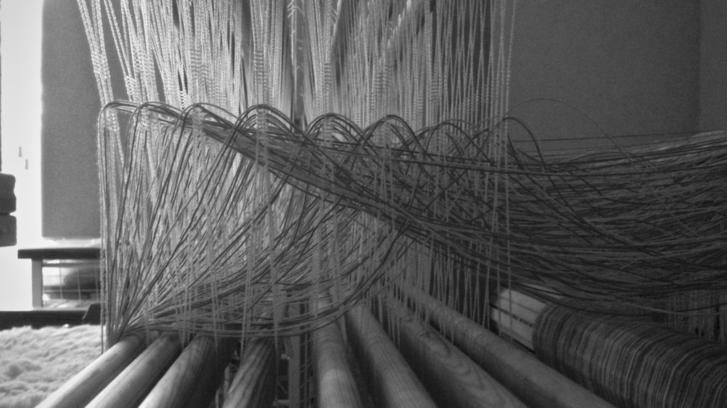 Threading eight shafts. Glimakra Standard loom.
