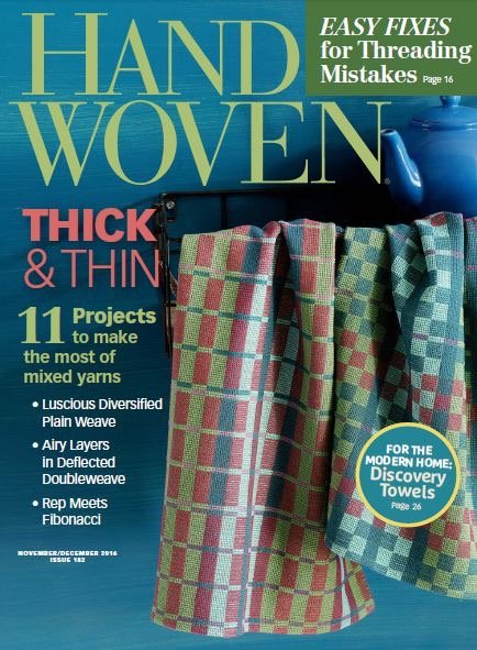 Excited to see my Thick and Thin towels on the cover of Handwoven!