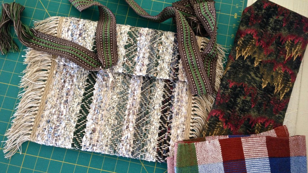 Making a rag rug bag. Strap woven on band loom. Karen Isenhower