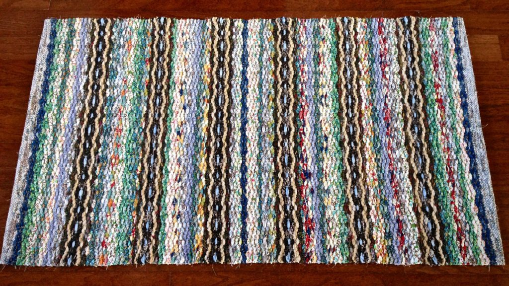 Rosepath rag rug just finished. Karen Isenhower